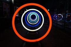 Círculos bonitos del resplandor de Georgetown en la noche Foto de archivo libre de regalías