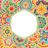 Círculos brilhantes no quadro étnico Imagens de Stock Royalty Free