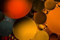 Círculos coloreados de aceite/agua Extracto de la macro Imagenes de archivo