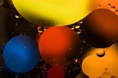 Círculos coloreados de aceite/agua Extracto de la macro Foto de archivo libre de regalías