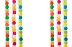 Círculos coloreados en seis líneas en un fondo blanco Fotos de archivo libres de regalías