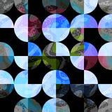 Círculos coloreados en un fondo geométrico inconsútil del fondo negro Imagen de archivo