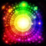Círculos coloridos abstractos que brillan el fondo ilustración del vector