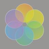 Círculos coloridos, arranjados sob a forma de uma flor Imagem de Stock Royalty Free