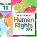 Círculos coloridos del día de los derechos humanos Imagen de archivo libre de regalías