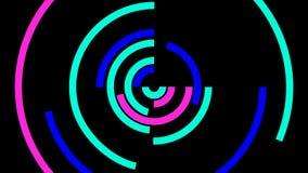 Círculos coloridos dinámicos lineares simples abstractos en el movimiento almacen de video