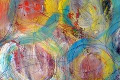Círculos coloridos Os cursos da pintura Fundo brilhante colorido ilustração stock