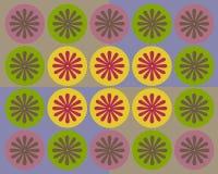 Círculos coloridos retros e colagem floral Foto de Stock