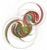 Círculos coloridos y curvas del fractal abstracto en blanco Foto de archivo