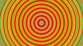 Círculos concéntricos del arco iris brillante Animación lisa 3D del lazo inconsútil abstraiga el fondo
