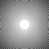 Círculos concéntricos, líneas radiales modelos Extracto monocromático ilustración del vector
