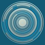 CÍRCULOS concéntricos SOBRE azul con segmentos curvados Imagenes de archivo