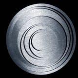 Círculos concêntricos do metal em um fundo preto Foto de Stock Royalty Free