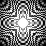 Círculos concêntricos, linhas radiais testes padrões Sumário monocromático ilustração royalty free