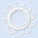 Círculos 3d abstratos no fundo azul Imagem de Stock