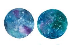 Círculos da aquarela da galáxia ilustração do vetor