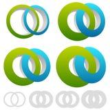 Círculos de bloqueio, anéis O símbolo ou o logotipo infinito com diferem ilustração royalty free