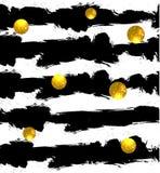 Círculos de brilho no fundo Esferas douradas Vector o teste padrão sem emenda Listras pretas ilustração stock