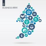 Círculos de color con los iconos planos en una flecha encima del negocio, estudio de mercados, estrategia, misión, conceptos del  Fotos de archivo