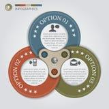 Círculos de color del negocio con 3 pasos ilustración del vector