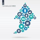 Círculos de color, iconos planos en flecha encima de la forma: tecnología, nube que computa, concepto digital