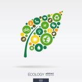 Círculos de color, iconos planos en una forma de hoja: ecología, tierra, verde, reciclando, naturaleza, conceptos del coche del e Foto de archivo
