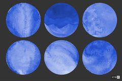 Círculos de la acuarela en azul fotos de archivo