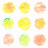 Círculos de la acuarela en el fondo blanco Banderas pintadas a mano coloridas fijadas Tintes de otoño Ilustración del vector Foto de archivo