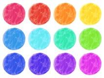 Círculos de la acuarela en el fondo blanco Sistema pintado a mano colorido Fotos de archivo