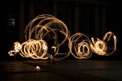 Círculos de la demostración del fuego de la hora de la tierra foto de archivo libre de regalías