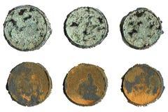 Círculos de la pátina y del moho fijados Imagen de archivo