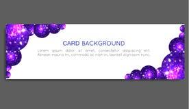 Círculos de la púrpura de la chispa Tarjeta del vale, tarjeta de felicitación, bandera, carte cadeaux Ilustración del vector Imagenes de archivo