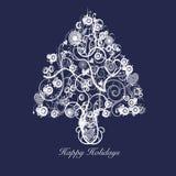 Círculos de los corazones de los remolinos del extracto del árbol de navidad Fotos de archivo