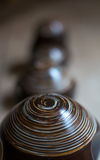 Círculos de madeira da profundidade do campo dos ornamento Foto de Stock