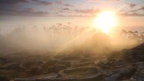 Círculos de piedra en el pueblo de la edad de hierro de Castro de Santa Tegra almacen de video