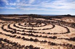 Círculos de piedra en Lanzarote Fotos de archivo