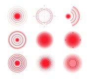 Círculos del dolor Punto doloroso rojo de la blanco stock de ilustración