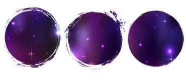 Círculos del Grunge con el fondo cósmico El objeto está a parte del fondo