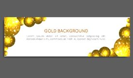 Círculos del oro de la chispa Tarjeta del vale, tarjeta de felicitación, bandera, carte cadeaux Ilustración del vector Imágenes de archivo libres de regalías