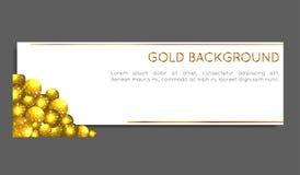 Círculos del oro de la chispa Tarjeta del vale, tarjeta de felicitación, bandera, carte cadeaux Vector Fotos de archivo