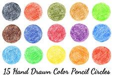 15 círculos desenhados à mão da textura do lápis da cor isolados Fotografia de Stock Royalty Free