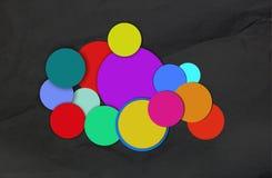 Círculos diferentes de cores acumuladas imagens de stock royalty free