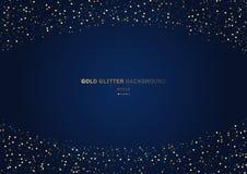 Círculos do brilho do ouro festivos em escuro - fundo azul com espaço para seu texto ilustração royalty free