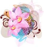 Círculos e flores ilustração do vetor
