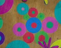 Círculos e flores pintados à mão coloridos para o uso do fundo foto de stock royalty free