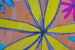 Círculos e flores pintados à mão coloridos para o uso do fundo imagens de stock