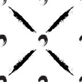 Círculos e listras pretos no fundo branco Imagem de Stock Royalty Free