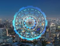 Círculos espertos da cidade e da tecnologia Projeto gráfico em Banguecoque foto de stock royalty free