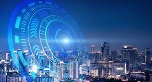 Círculos espertos da cidade e da tecnologia Projeto gráfico em Banguecoque fotografia de stock royalty free