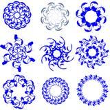 Círculos florais diferentes.  Elementos decorativos Foto de Stock Royalty Free